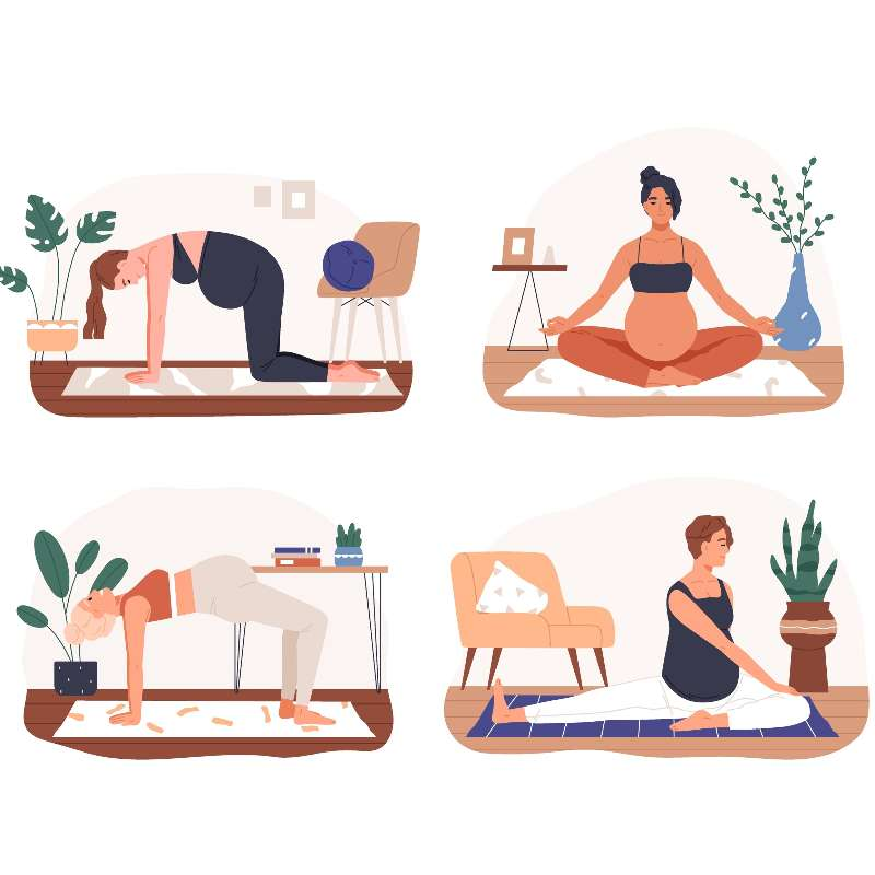 Set of diverse pregnant woman practicing yoga vector flat illustration. Collection of active future mothers doing aerobic exercise, meditating and stretching isolated.