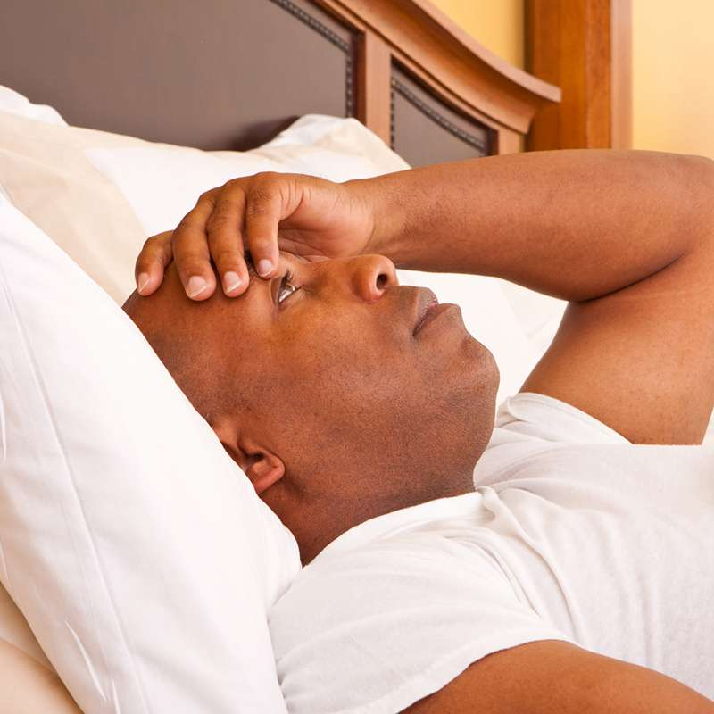 Man with insomnia after back surgery